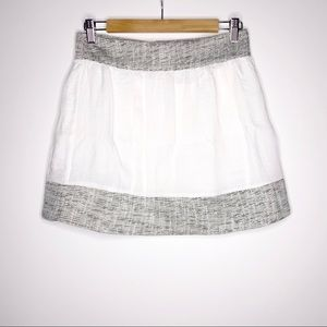 Women's NEW Line & Dot Mini Skirt White & Gray